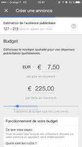 Choix du budget -adwords express