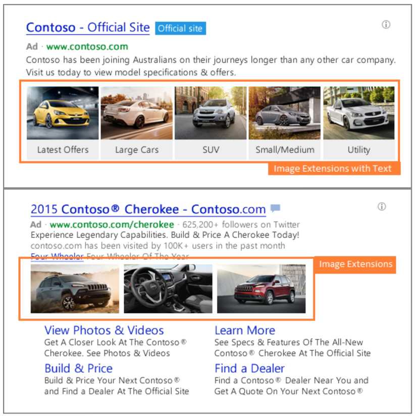 Bing Ads - Extensions d'images