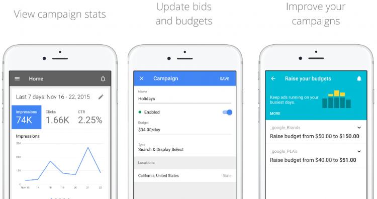 L'interface google AdWords sur iPhone