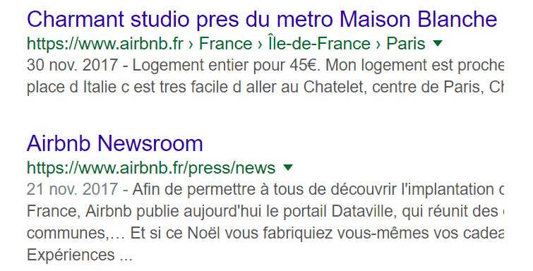 La meta description : exemple de airbnb