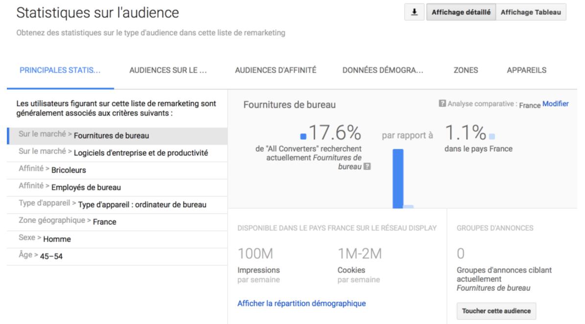 Google Adwords : Rapport sur les données d'audience