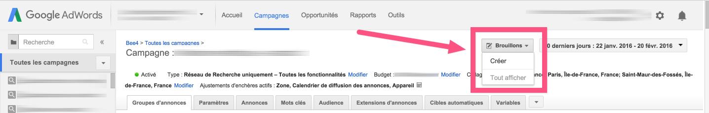 Création de campagnes fictives dans Google Adwords