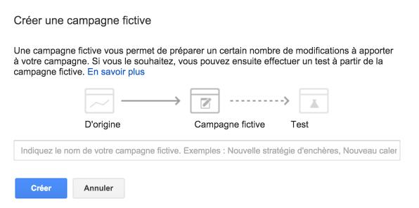 Création d'une campagne de test google adwords