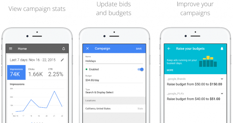 L'interface google AdWords sur iPhone